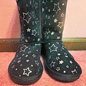 Airwalk Emma Star Cozy Black and Silver Boots